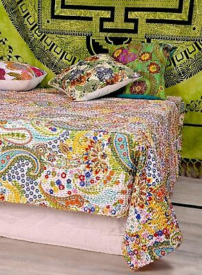 White Paisley Kantha Quilt Cotton Throw King Size Blanket Bedspread Indian Gudri • 36.99£