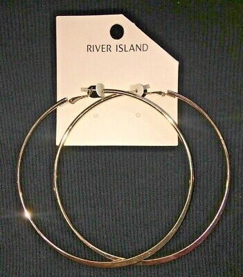 River Island Gold 10cm Hoop Earrings Brand New RRP £6 Party Fashion Jewellery • 6£