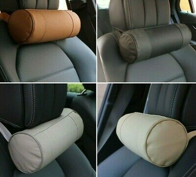 AU38.09 • Buy Car Neck Pillows Genuine Leather Auto Round Roll Office Chairs Headrest Support