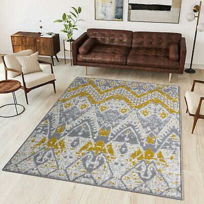 Yellow Grey Azetc Rug | Tribal Transitional Rug | Mustard Guestroom Bedroom Rugs • 89.95£