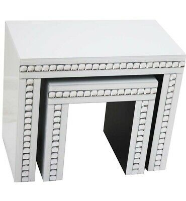 Set Of 2 White Gloss Crystal Nest Tables • 260£