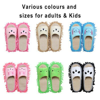 Cartoon Lazy Cleaning Mop Slippers Chenille Detachable Floor Dusting Shoes S/M/L • 9.48£
