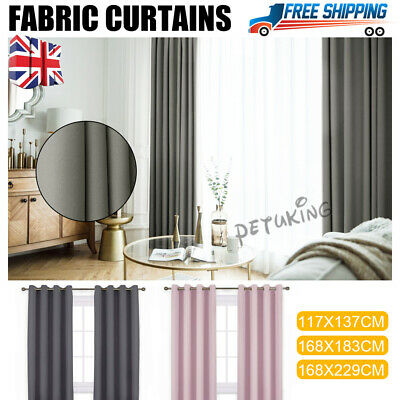 Thick Thermal Blackout Ready Made Eyelet Ring Top Pair Curtains Panel Easy Care • 20.98£