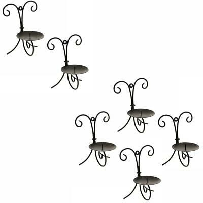 £8.07 • Buy Set Of Black Vintage Retro Wall Mounted Sconce Candlestick Candle Holder Plate