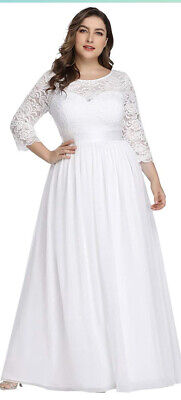 Ever-Pretty Women's A Line 3/4 Sleeves Round Neck Lace Floor Length Elegant • 30£