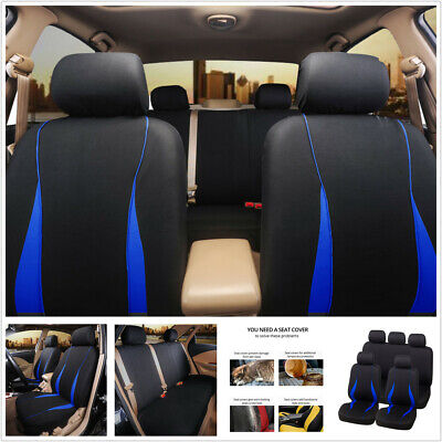 $ CDN33.96 • Buy 9PCS Front + Rear Seat Protect Cover Polyester Universal Fit For 5-Seats Car