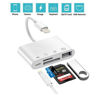 4-in-1 SD/TF Card Reader USB 2.0 Female  OTG Adapter Cable For Iphone Ipad  UK • 7.59£