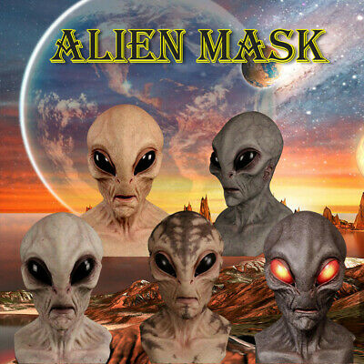Scary Silicone Face Mask Alien UFO Horror Latex Masks For Halloween Party Props • 12.49£