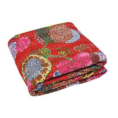 Indian Fruit Print Kantha Twin Size Quilt Cotton Red Bedspread Blanket Throw • 29.99£