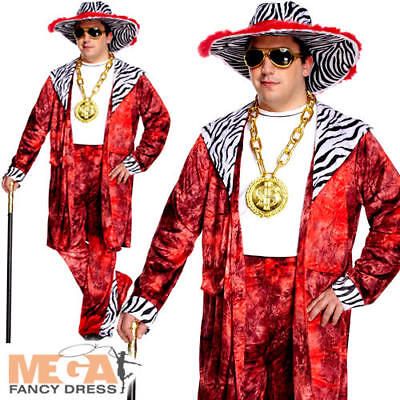 £22.99 • Buy Big Daddy Pimp Mens Fancy Dress 70s 80s Gangster Adults Plus Size Costume Outfit
