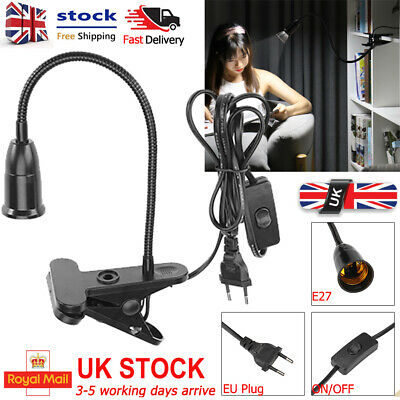 1.7m E27 Clamp Lamp Base EU Plug Hanging LED Socket Holder With ON/OFF Switch UK • 9.11£