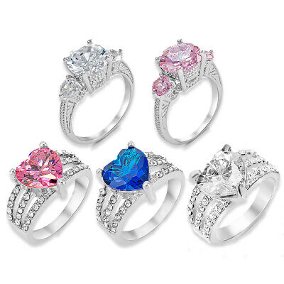 Silver Heart Crystal Gems Band Rings Ladies Statement Gift Engagement Womens UK • 3.99£