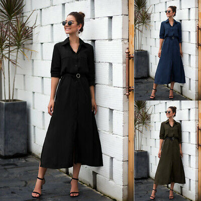 Womens Solid Long Blouse Top Ladies Button Up Shirt Dress Pullover Size 6-14 • 12.49£