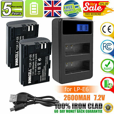 2X 2600mAh LP-E6 Battery + LCD Dual Charger For Canon EOS 70D 60D 5D Mark II III • 17.49£