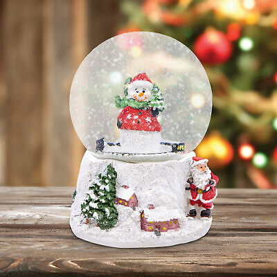 Wind Up Musical Christmas Snowman Santa Claus Snow Globe Xmas Home Decoration • 14.95£