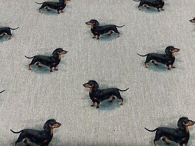 £12.99 • Buy Daxi Dachshund  Dog Linen/Cotton  Curtain/Craft/upholstery Fabric