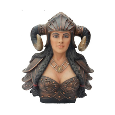Bust Of A Warrior IN One Helmet With Horns Statue Viking Statues Figures • 224.87£