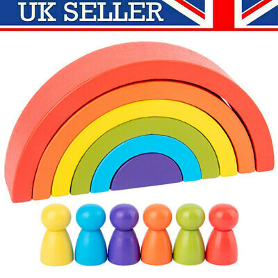 £7.99 • Buy 6 Colors Wooden Stacking Rainbow Shape Child Educational Toy Gifts For 3-14 Fast