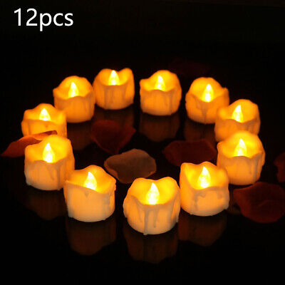 Solar Powered LED Candles Flameless Electronic Waterproof Tea Lights Lamp • 9.30£