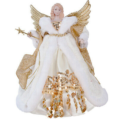 30cm Traditional Gold Angel Fairy Xmas Christmas Tree Topper Ornament Decoration • 11.95£