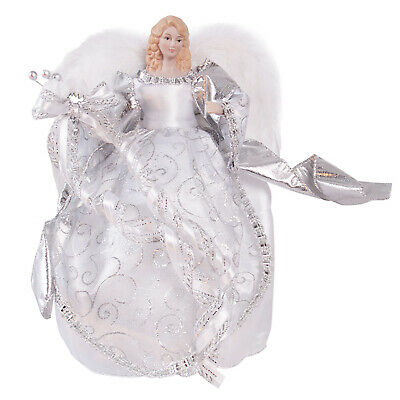 30cm Traditional Silver Angel Fairy Christmas Tree Topper Ornament Decoration • 11.95£