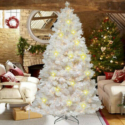4/5/6/7ft White Artificial Christmas Tree With Lights Bushy Xmas Home Decoration • 18.99£