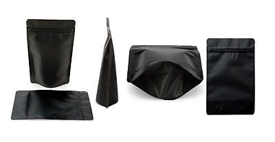 Heat Seal Resealable Stand Up Bags / Pouches Zip Lock Food Grade Matte Black • 2.49£