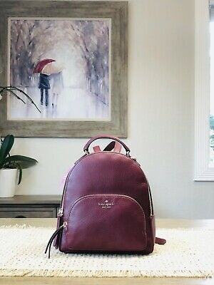 $ CDN174.17 • Buy Kate Spade Jackson Medium Backpack Tote Bag Cherrywood Leather