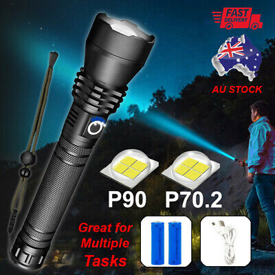 AU30.99 • Buy XHP90 /XHP70.2 Most Powerful 120000LM Tactical 3 Mode Zoom Flashlight LED Torch
