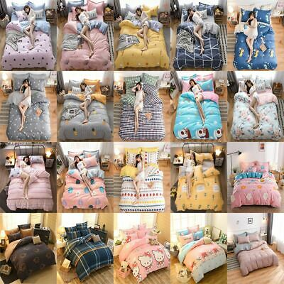 Soft Bedding Set Duvet Quilt Cover Bed Fitted Sheet Pillowcase Double King Size • 19.99£