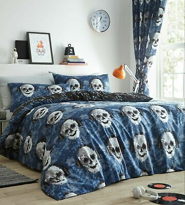 Pixel Skulls Reversible Duvet Cover Quilt Cover Bedding Set • 19.95£