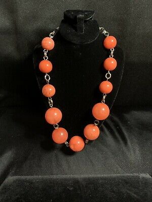 $15 • Buy Costume 17mm, 23mm Orange Coral Ball Bead Necklace