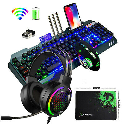 AU102.36 • Buy AU Wireless Rechargeable Gaming Keyboard Mouse And RGB Headset Combo LED Backlit