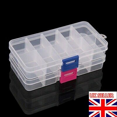 Multi Compartment Beads Rings Jewelry Adjust Organizer Storage Box Case Plastic • 1.99£