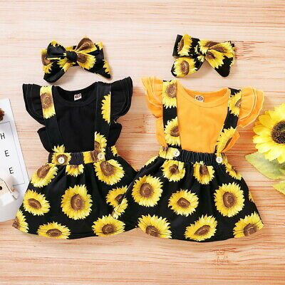 Newborn Baby Girl Clothes Ruffle Romper Top + Floral Skirt + Headband Outfit Set • 9.99£