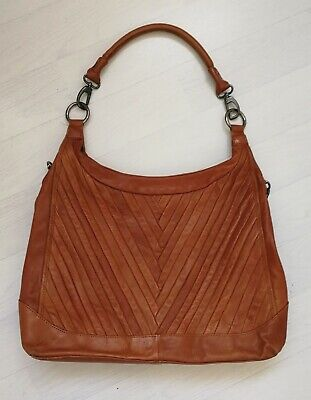 Large Tan Leather Hobo Shoulder Bag With Detachable Crossbody Strap • 14£