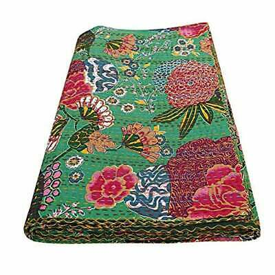 Indian Fruit Print Kantha Bedspread Handmade Bedding Blanket Twin Size Quilt • 22.99£