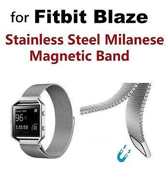 $ CDN11.48 • Buy NEW Silver Magnetic Milanese Loop Strap Band Stainless Fitbit Blaze + Frame