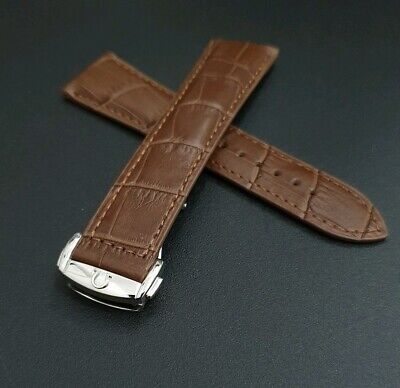 Omega Watch Band Brown Genuine Leather Strap Deployment Clasp Buckle Mens 20mm  • 47.99£