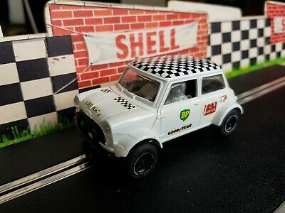 Vintage Scalextric Mini Cooper White / Chequered Roof  Toys R Us  C398 Tested • 19.99£