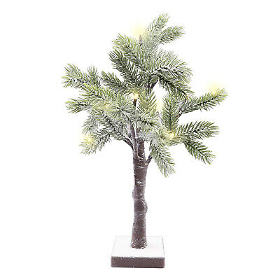 50cm 12 LED Snowy Tree Table Top Pre Lit Christmas Decoration Snow Indoor Xmas • 11.95£