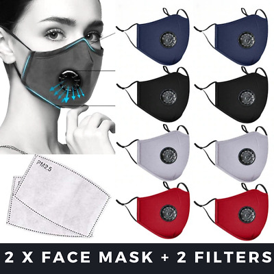 AU11.70 • Buy 2 X Washable Face Mask Mouth Reusable Anti Pollution Cotton Masks PM 2.5 Filter
