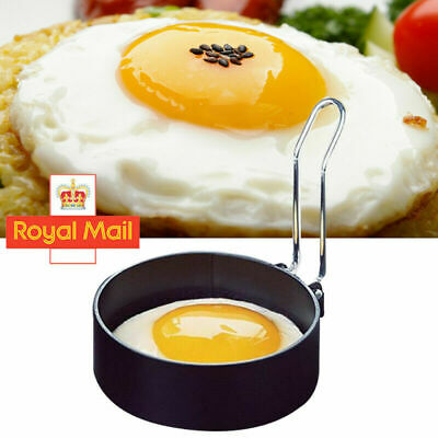 1/2Pcs Metal Egg Frying Rings Circle Round Fried/Poach Mould+Handle Non Stick UK • 5.15£