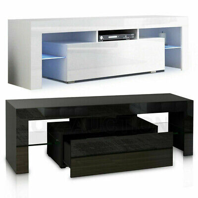 High Gloss 130CM TV Stand Cabinet Unit LED Glass Storage Cupboard Table + Drawer • 68.25£