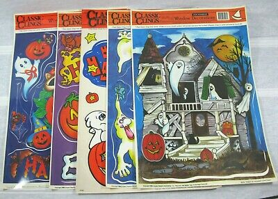 $ CDN9.94 • Buy Vintage Classic Clings Halloween Window Decorations Lot Of 5 Non-Adhesive