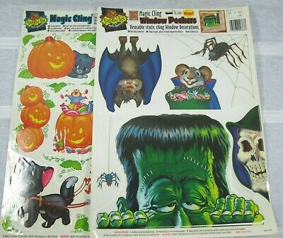 $ CDN4.94 • Buy Vintage Magic Clings Halloween Window Decorations Lot Of 2 Reusable Static Cling