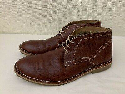 Red Herring - Men's Brown Leather Laced 'Stevie' Desert Boots UK 10 G EU 45 • 5.50£