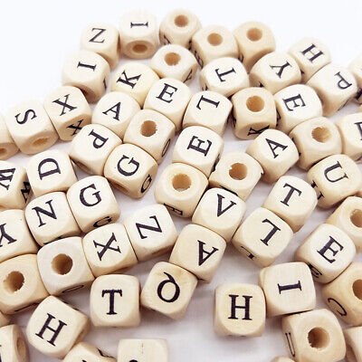 £3.18 • Buy 100pc Wooden Alphabet Letter DIY Beads Baby Teether For Jewelry Making 10mm
