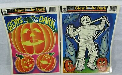 $ CDN9.18 • Buy Vintage Color Clings Lot Of 2 Glow In The Dark Halloween Window Decorations
