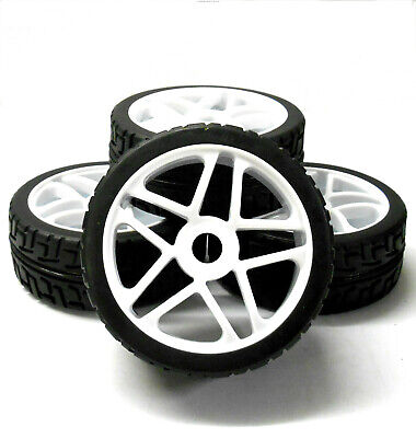 180087 1/8 Scale On Road Nitro Buggy RC Star Wheels And Tyres White X 4 • 20.99£